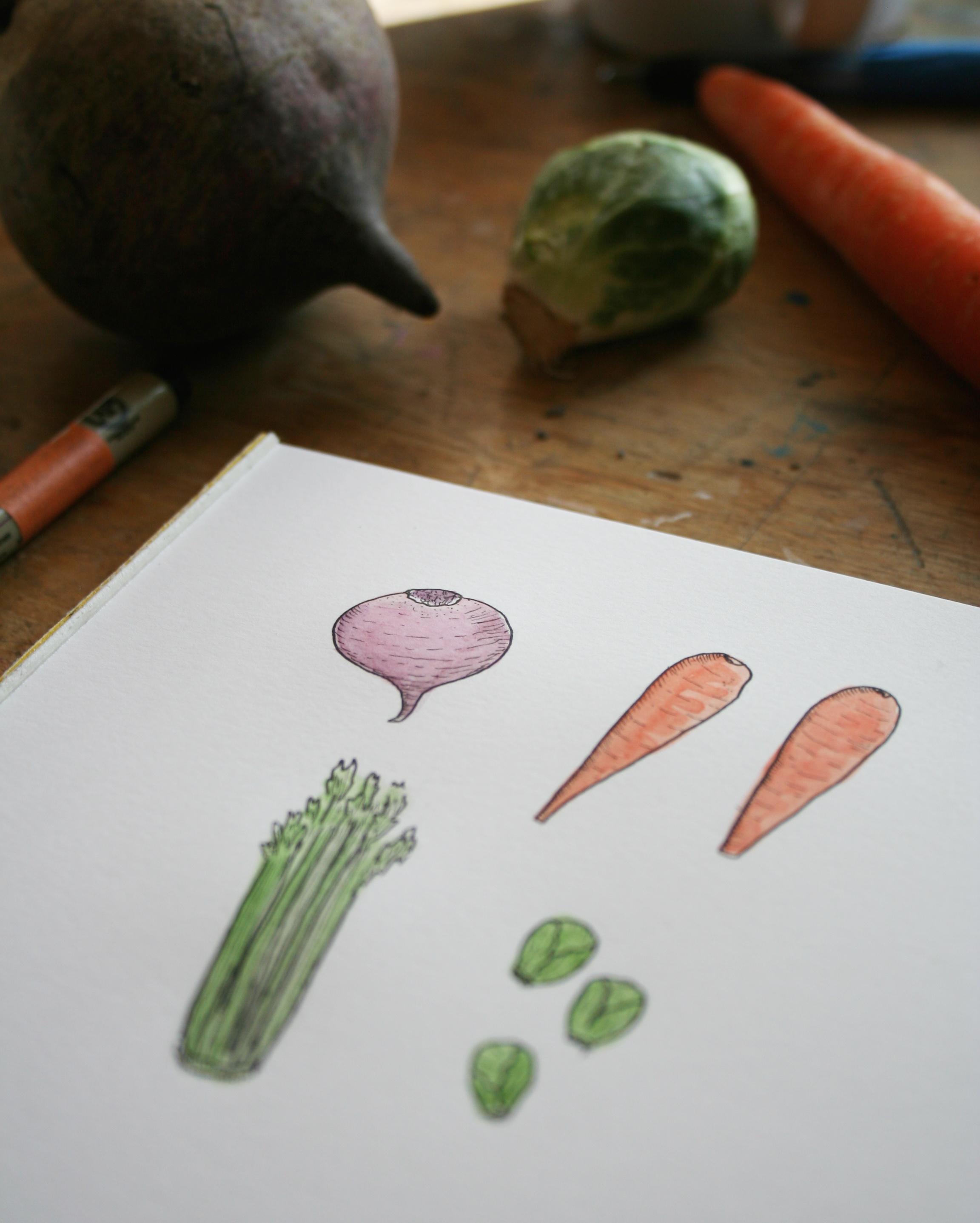 Drawn vegetable veggie Art to Vegetables Healthy: How