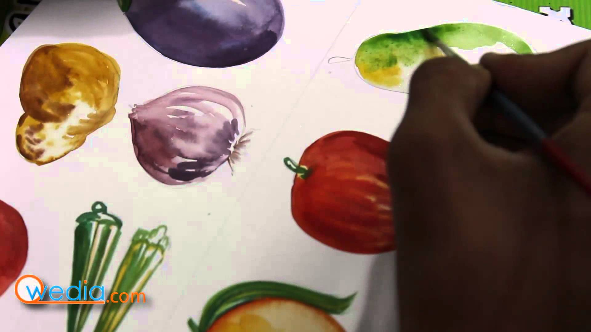 Drawn vegetables watercolor YouTube water fruits with color