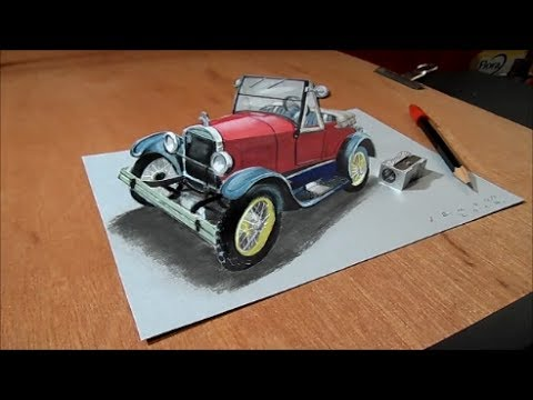 Drawn vehicle amazing car Car Draw Art 3D Trick