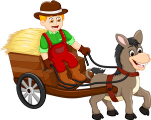 Drawn vehicle animated Et horse carrying grass de