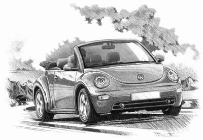 Drawn vehicle beetle Hand prints New Beetle Personalised