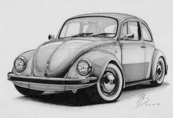 Drawn vehicle beetle Instant Drawing 24 Original Volkswagen