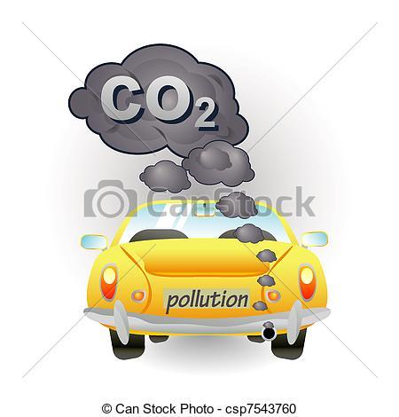 Drawn vehicle car pollution Car car pollution of yellow