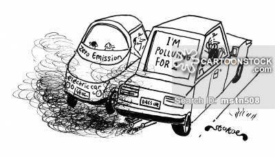 Drawn vehicle car pollution Electric Cartoons of from Car