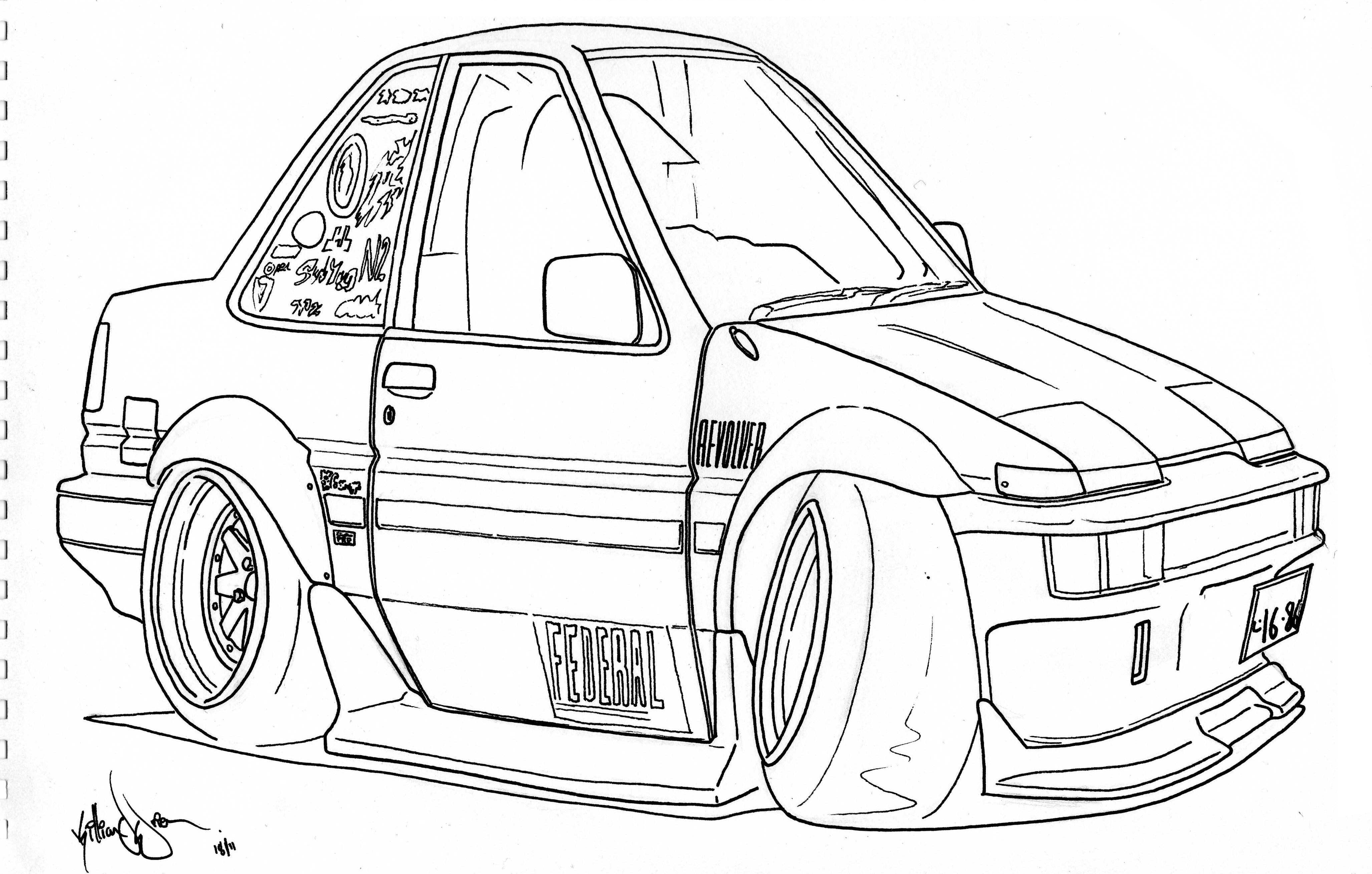 Drawn vehicle caricature K T E O K