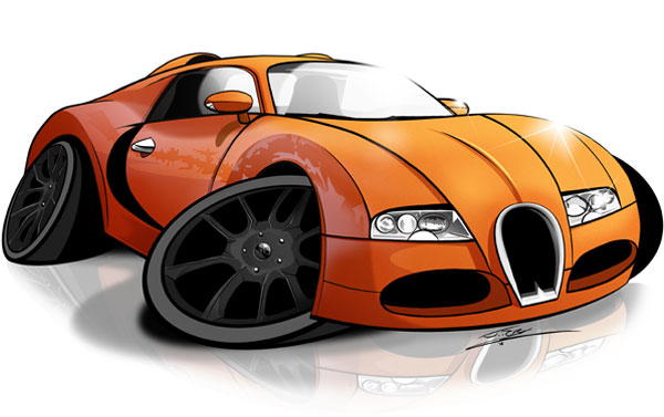 Drawn vehicle caricature Photoshop in Adobe Ink to