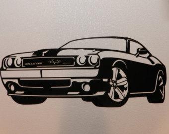 Drawn vehicle challenger Challenger Dodge Etsy Metal Dodge