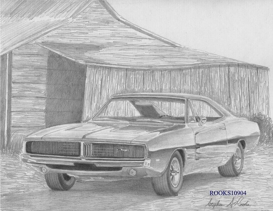 Drawn vehicle challenger 1969 Print Muscle Dodge Car