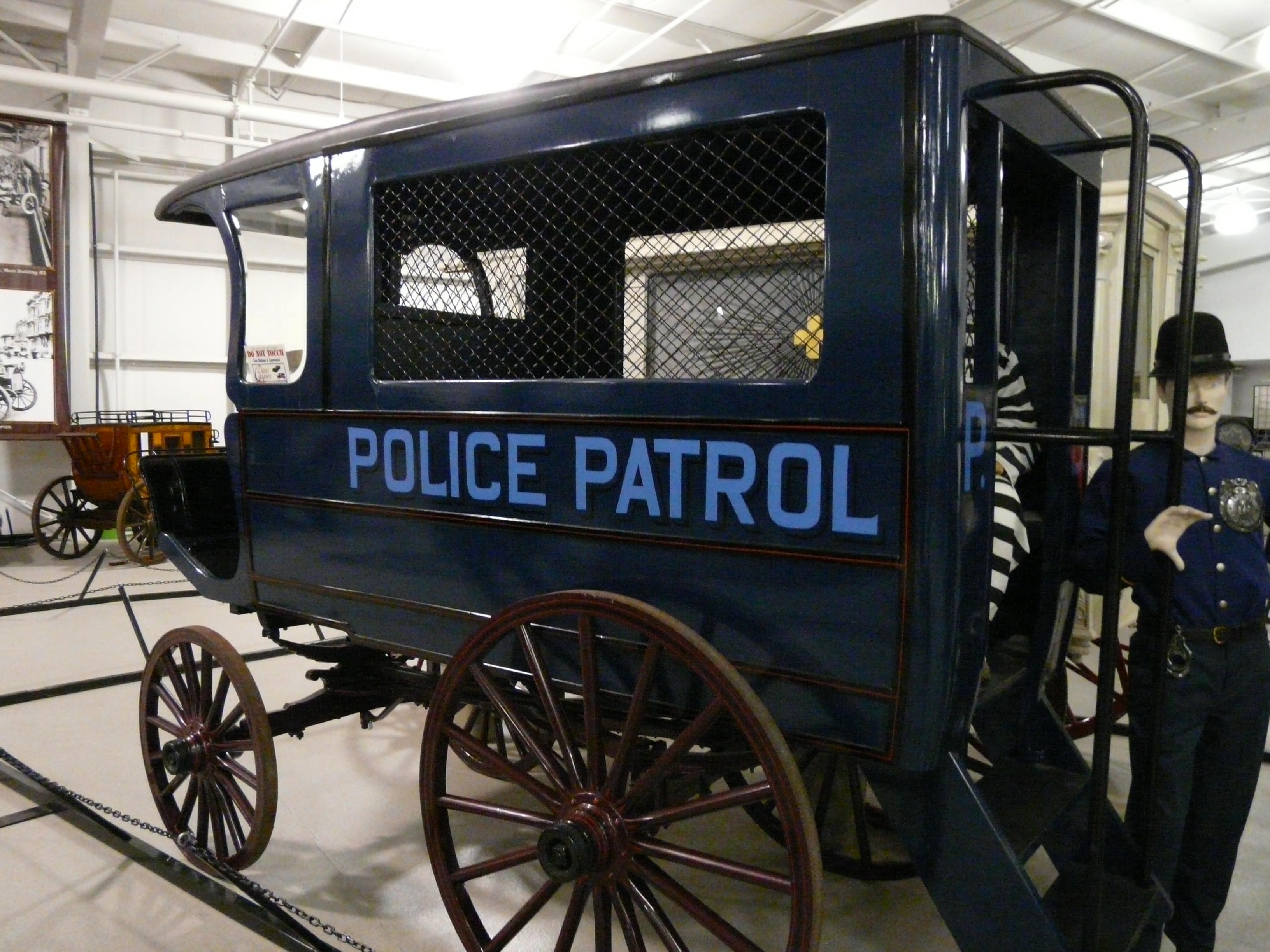 Drawn vehicle cop car Horse and Horse Wagon drawn