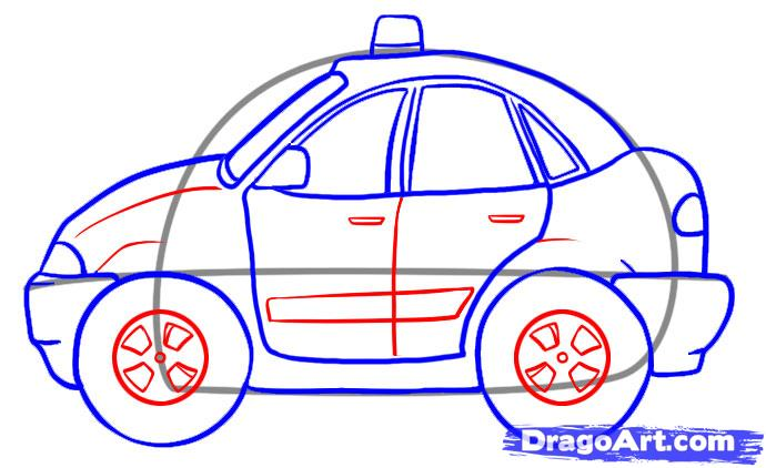 Drawn vehicle cop car To Online car Draw a