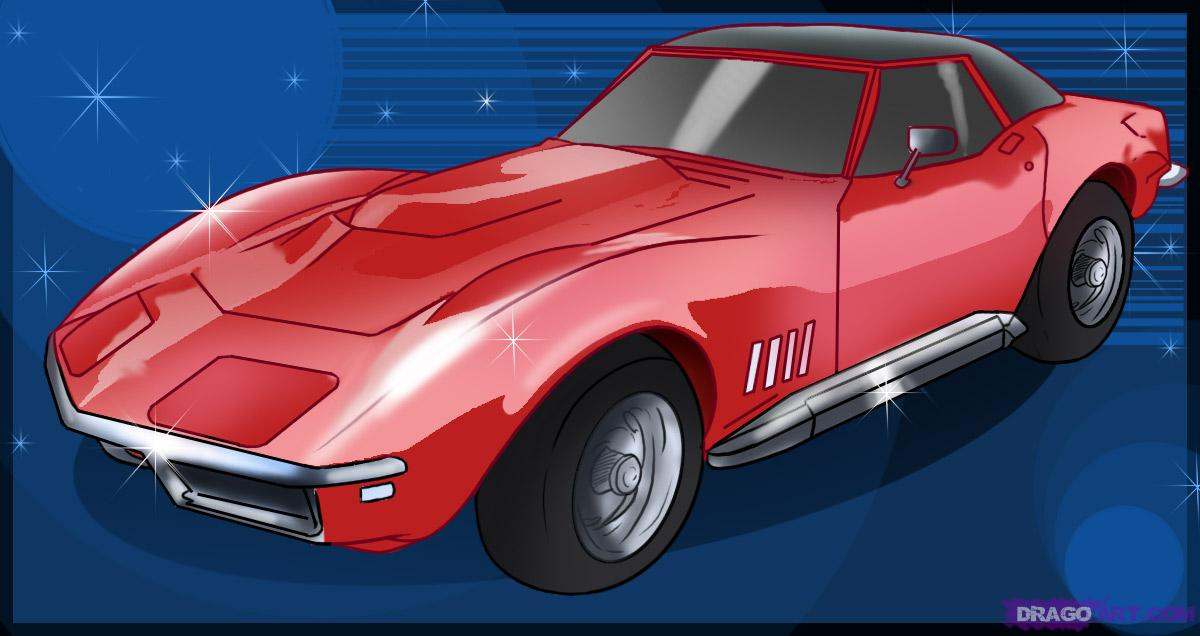 Drawn vehicle corvette To car to Online a