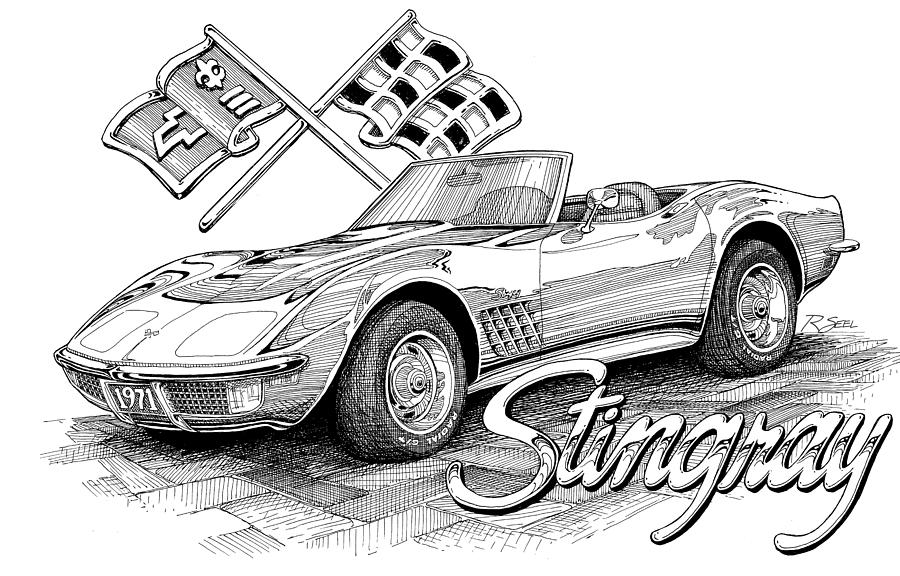 Drawn vehicle corvette 1972 Rod Drawing Corvette Drawing