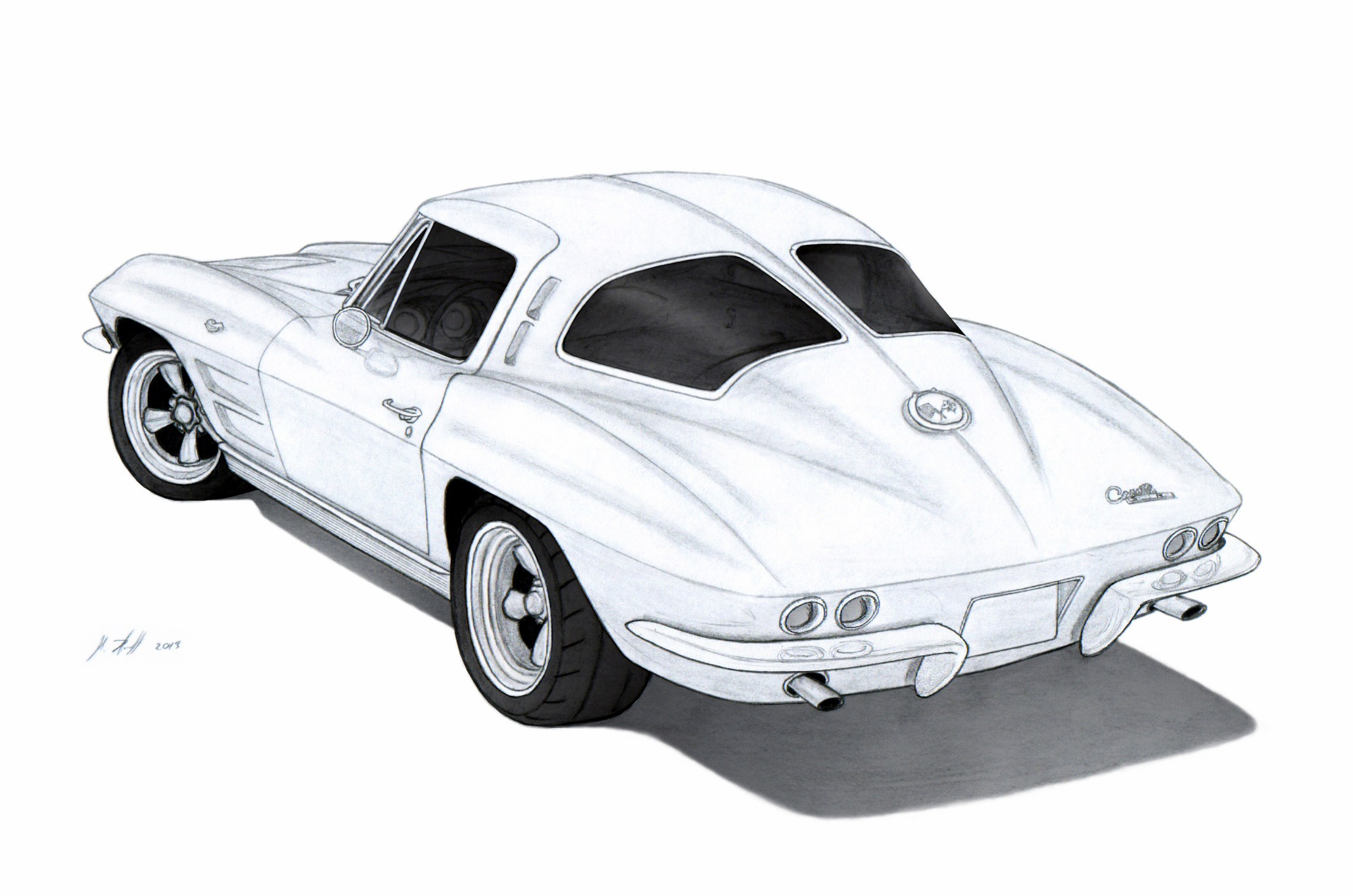 Drawn vehicle corvette By (C2) by Chevrolet (C2)
