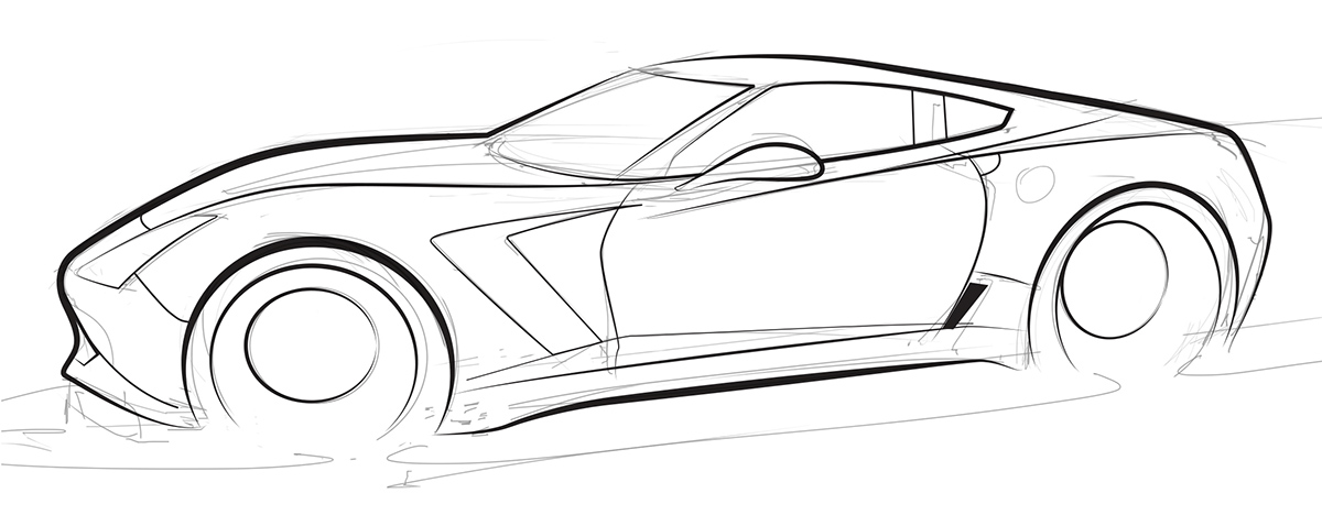 Drawn vehicle corvette Z06 c7 line of –