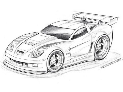 Drawn vehicle corvette And Pinterest Chevy Car Drawings