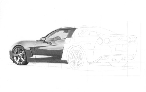 Drawn vehicle corvette A drawing to car Draw