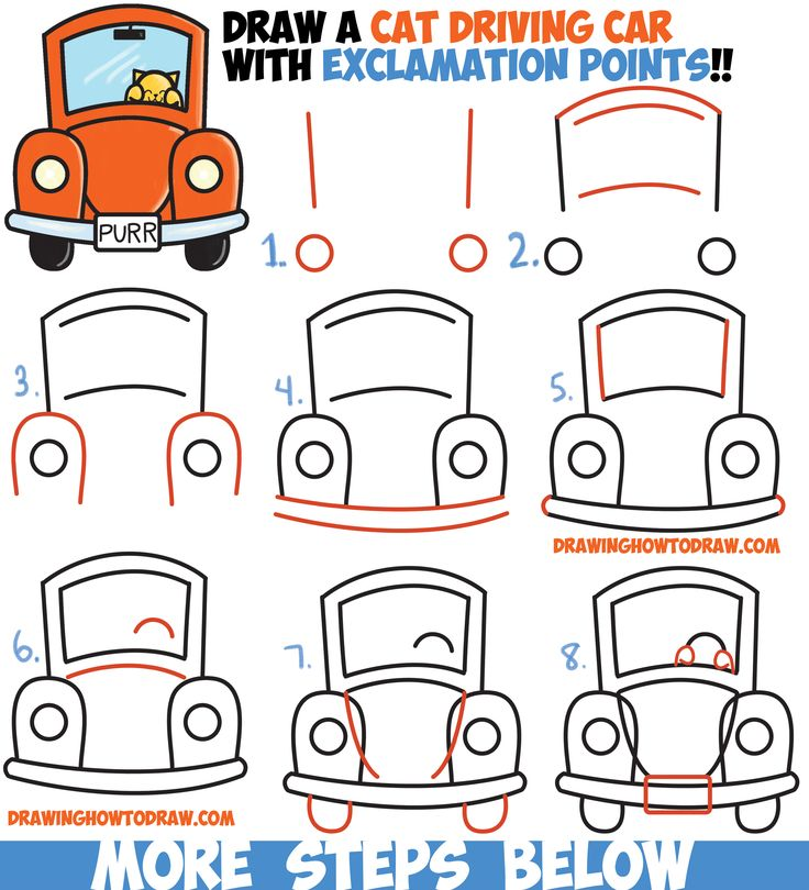 Drawn vehicle cute Car a Easy Exclamation Driving