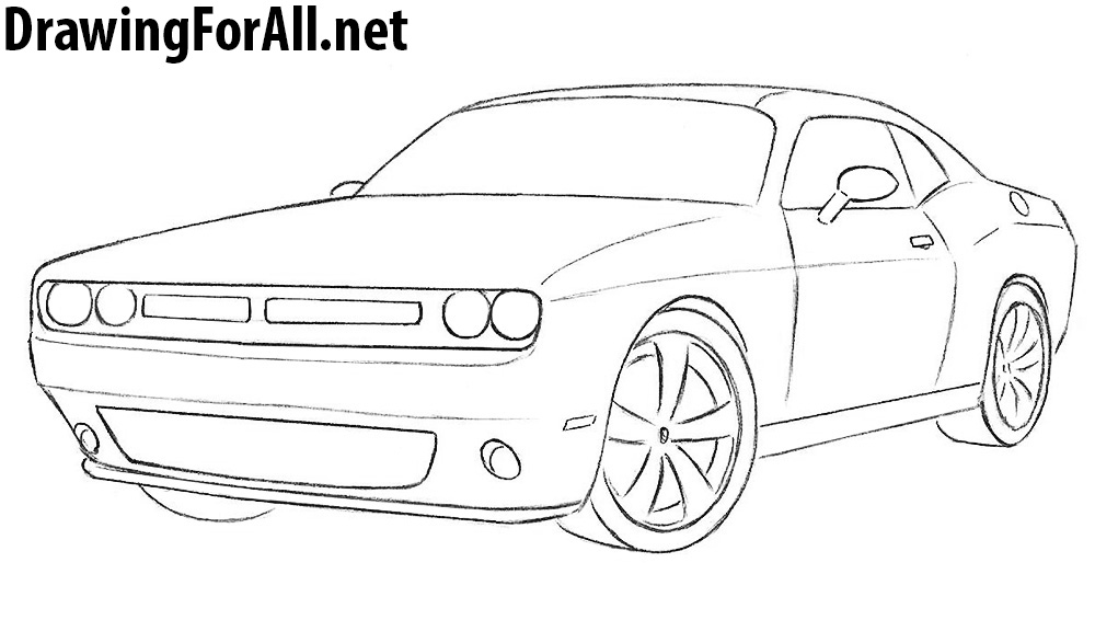 Drawn vehicle dodge Challenger to net How DrawingForAll