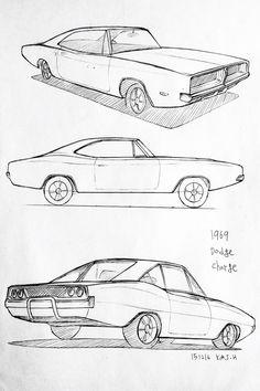 Drawn vehicle dodge Drawing drawing Pinterest Prisma Drawings