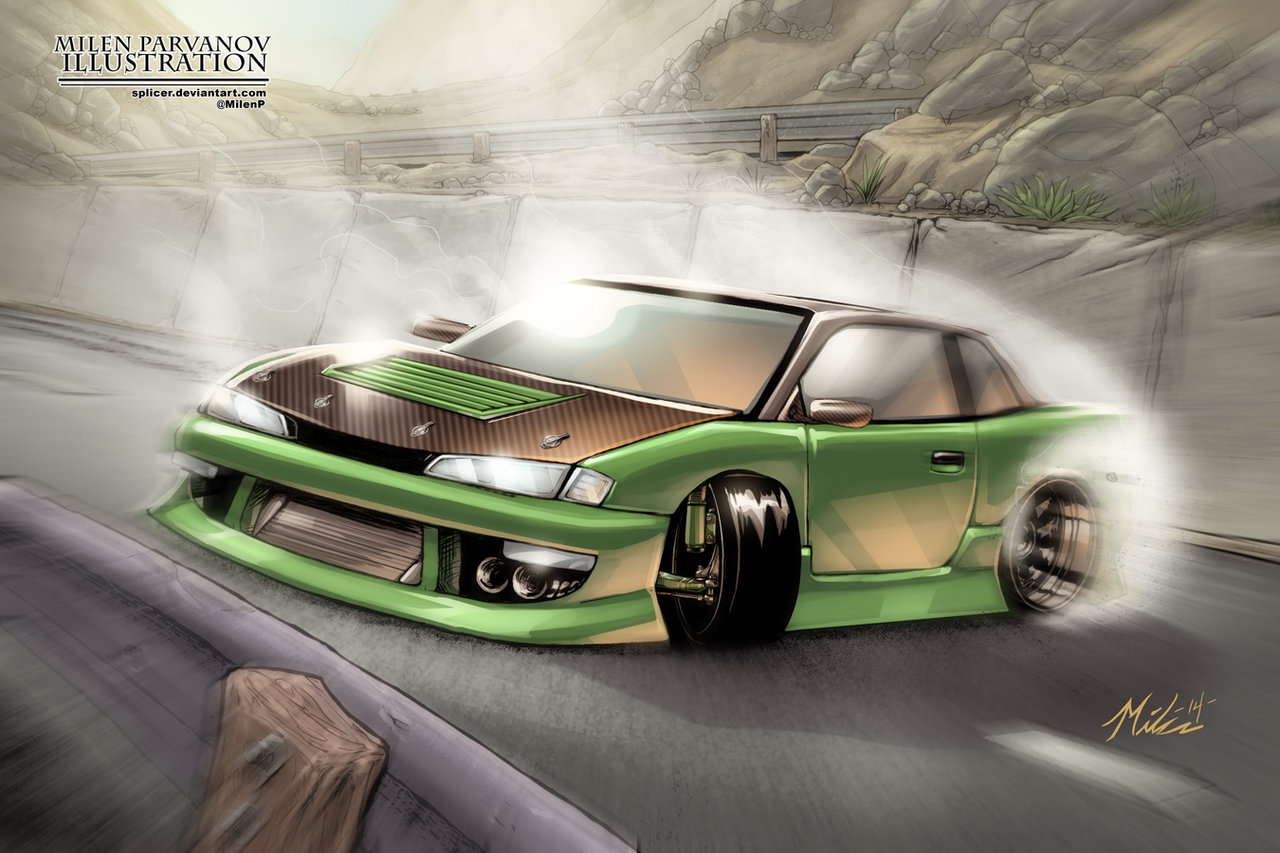 Drawn vehicle drift Polycount — Cars nissan_s13_4_colored_by_splicer Drifting