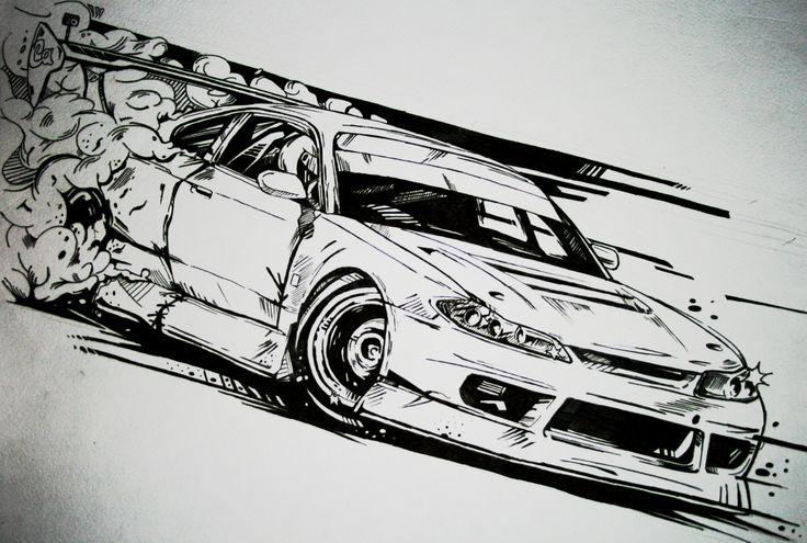 Drawn vehicle drift  Pinterest silvia and illustration