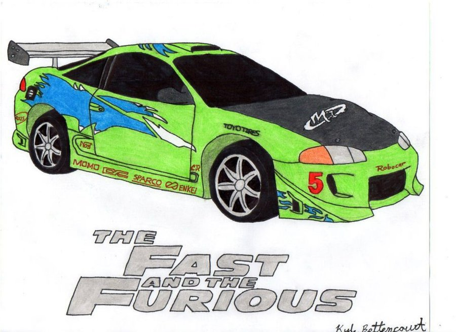 Drawn vehicle fast and furious Mitsubshi  The Spiked Furious: