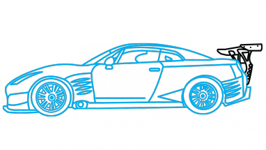 Drawn vehicle fast and furious GTR Drawing Step Tutorial Step
