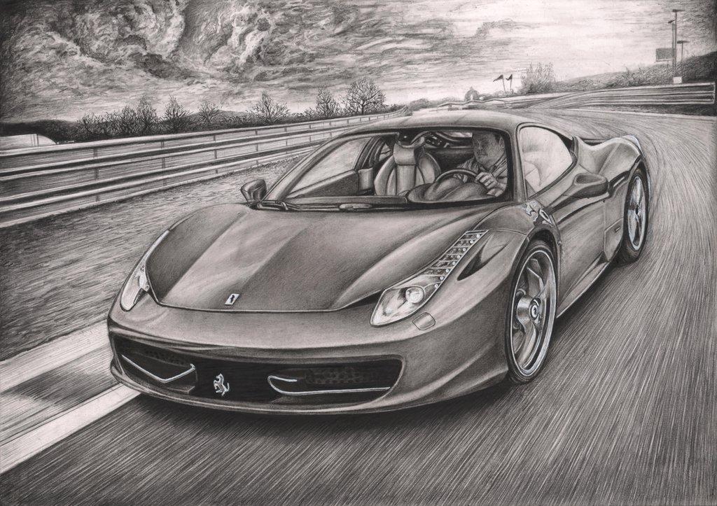 Drawn vehicle ferrari Artist drawing Tacular 458 by