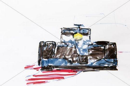 Drawn vehicle formula 1 Kraus Formula racing Europe car