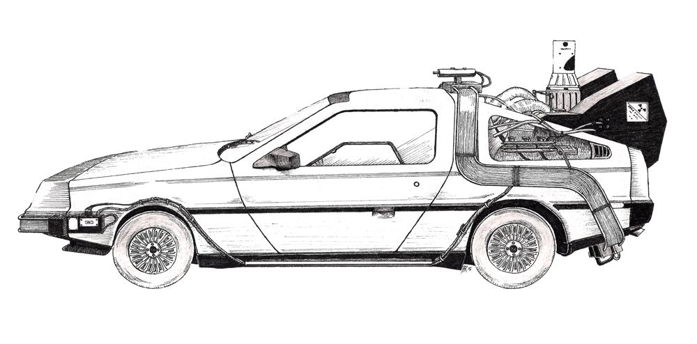 Drawn vehicle future Aina car original ariu backtofuture