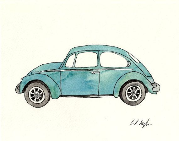 Drawn vehicle illustrator Best Watercolor Original 8x10 father's