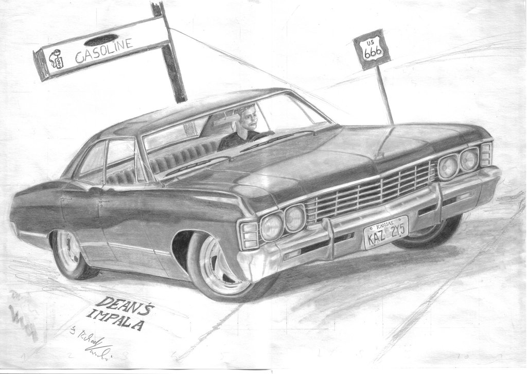 Drawn vehicle impala Supernaturalclub on Dean's 3 0