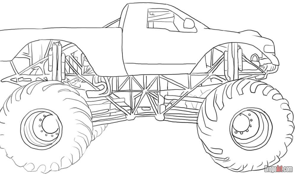 Drawn vehicle monster Steps Truck steps to a