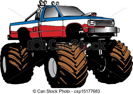Drawn vehicle monster Truck vector Monster drawn and