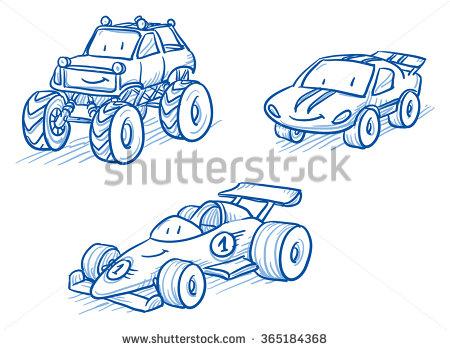 Drawn vehicle monster Set cartoon Cute Hand drawn