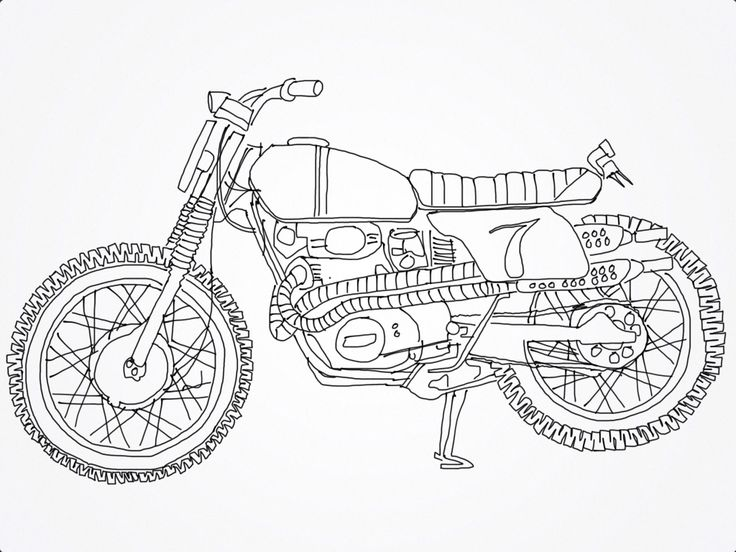 Drawn vehicle motobike Caferacer car about motorcycle 7