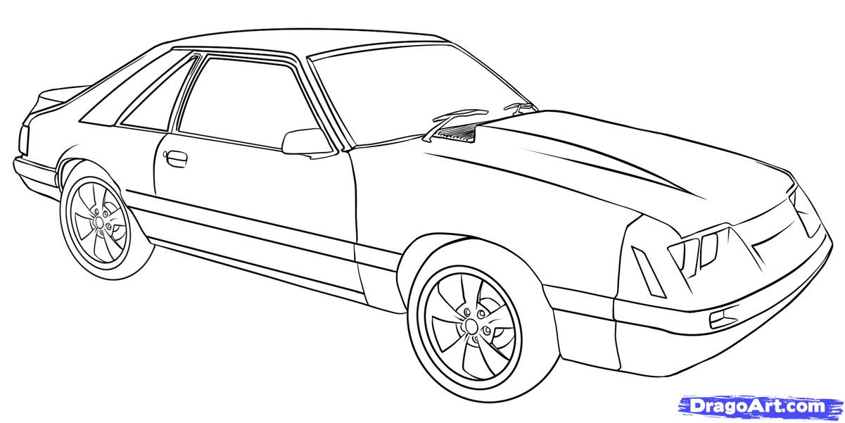 Drawn vehicle mustang gt Step to step Draw