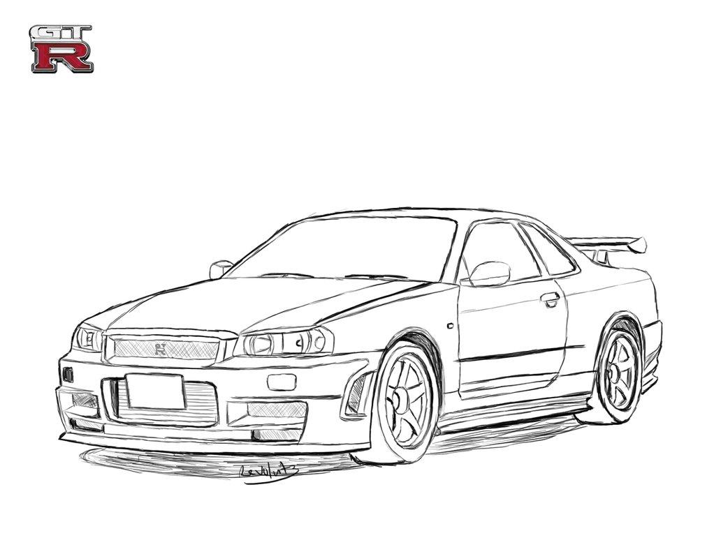 Drawn vehicle nissan Skyline Drawing DeviantArt Revolut3 Nissan