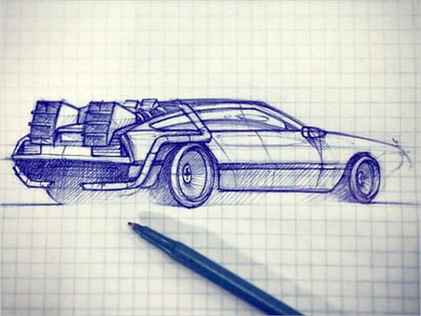 Drawn vehicle pen Pen AI Car EPS Free