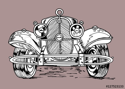 Drawn vehicle pen Cabriolet 30s Typical  classic
