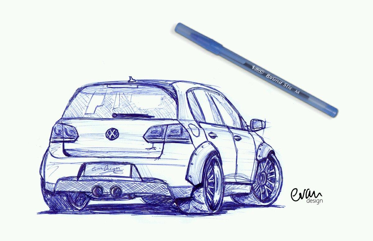 Drawn vehicle pen GTi Art wide Pen Volkswagen