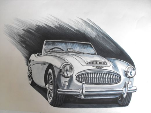 Drawn vehicle pen Drawing fine How Healey line