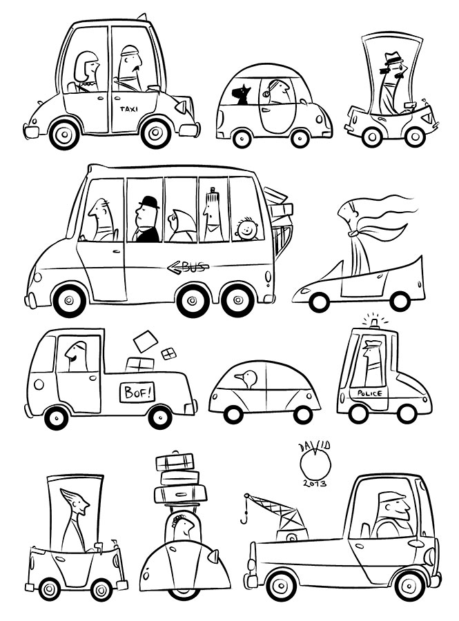 Drawn vehicle pencil for kid  and David Pencil chief
