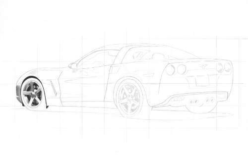 Drawn vehicle pencil shading Of use pencil to bottom