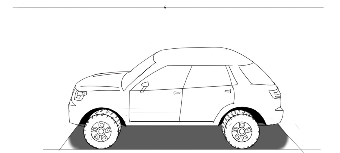 Drawn vehicle perspective drawing A Car perspective car draw