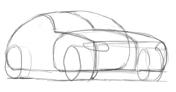 Drawn vehicle perspective drawing To shapes draw How Drawing