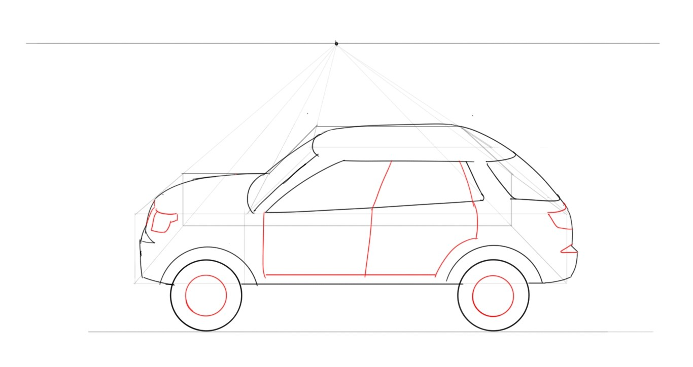 Drawn vehicle perspective drawing A Junior Designer perspective in