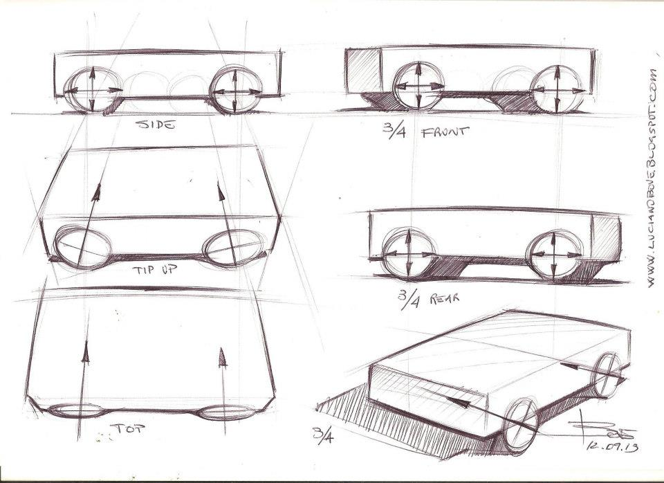 Drawn vehicle perspective drawing To wheels Arts sketch to