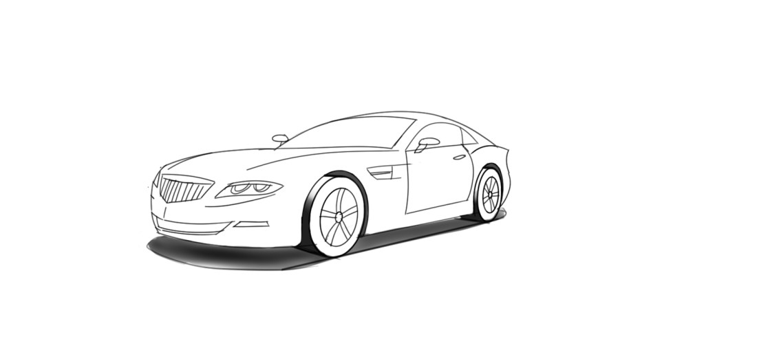 Drawn vehicle perspective drawing In a two car Designer