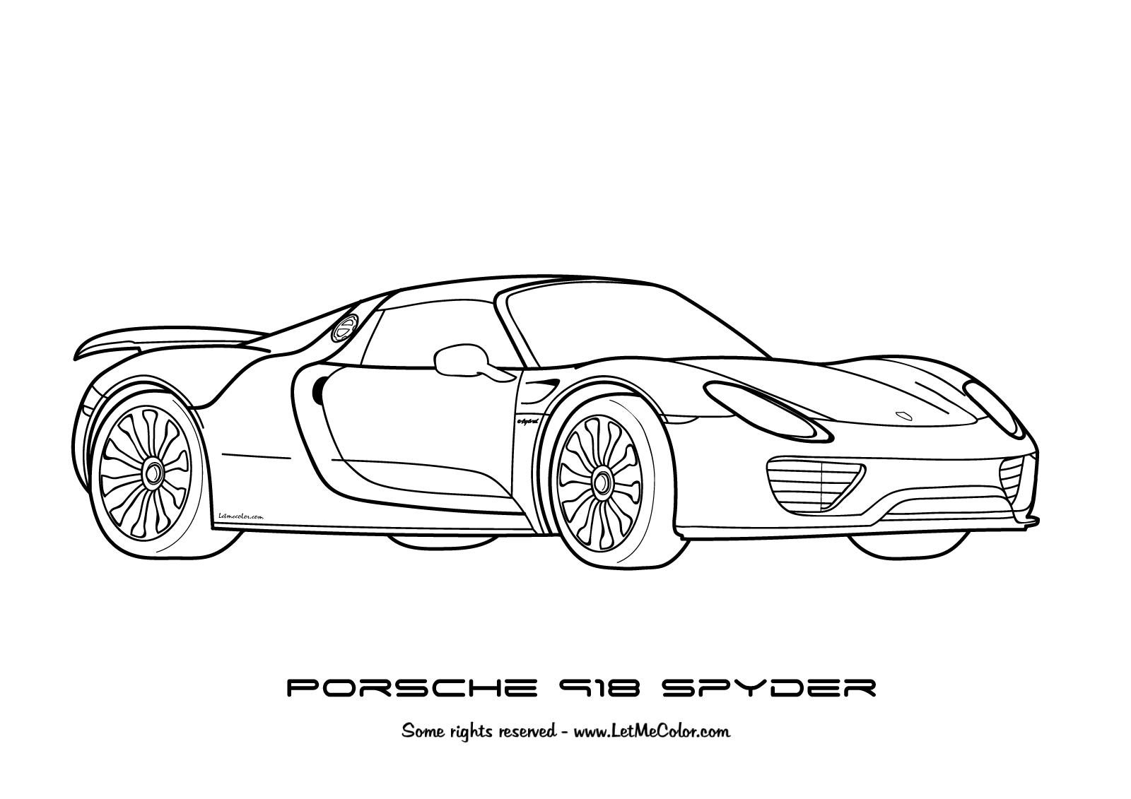 Drawn vehicle porsche Page Porsche 918 cars coloring